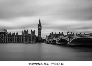 LONDON, UK - 17TH OCTOBER 2016: Long Exposure of Westminster Bridge and Houses of Parliment,