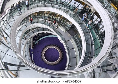 LONDON UK - 17TH SEPTEMBER 2016; Looking down at the staircase of London' new City Hall, architect Norman Foster