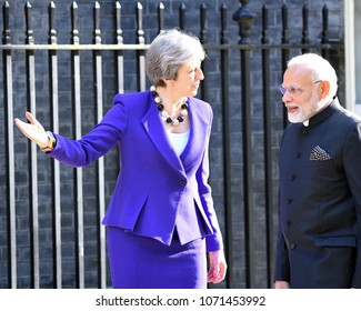 London, UK. 18 April, 2018. Prime Minister Modi of India meets Prime Minister Theresa May at 10 Downing Street.