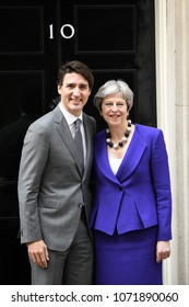 London, UK. 18 April, 2018. Prime Minister Trudeau of Canada meets Prime Minister Theresa May at 10 Downing Street.