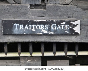 LONDON, UK : 18 October 2014 : The old sign at Traitors Gate in The Tower Of London