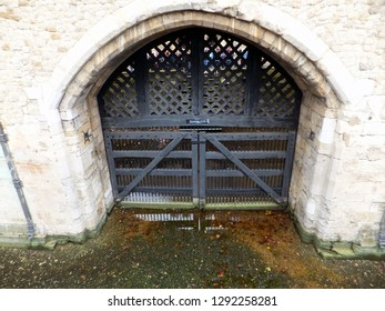 LONDON, UK : 18 October 2014 : The archway at Traitors Gate at The Tower Of London