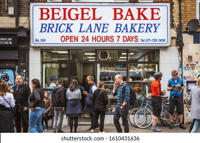 London, UK - 18 October, 2019 - A famous bagel shop, Beigel Bake, on Brick Lane with many customers