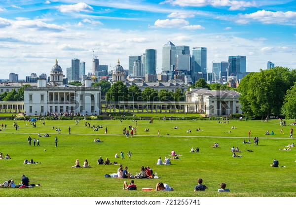 LONDON, UK; 18.04.17: Greenwich park at sunny spring day. Greenwich Park is a former hunting park in Greenwich and one of the largest single green spaces in south-east London