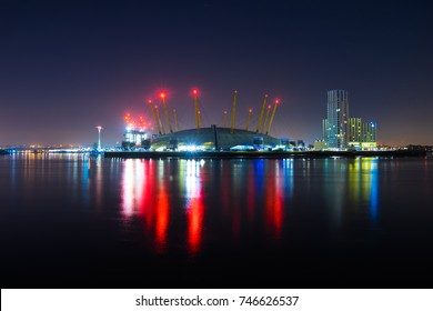 LONDON, UK; 18.04.17: O2 Arena viewed at night.The O2 Arena, is a multi-purpose indoor arena located in the centre of The O2