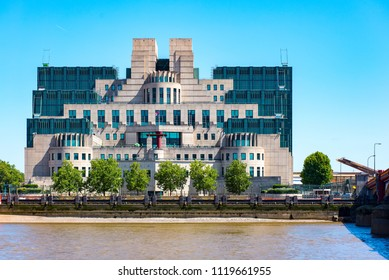 LONDON, UK - 18JUN2018: HM The SIS Building at Albert Embankment, Vauxhall is the headquarters of MI6. Seen across the river from Millbank.