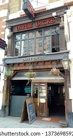 LONDON/ UK- 18th April 2019: Dirty dicks, the famous pub in Bishopsgate, central London, has existed for over 200 years. The pub was used by Charles Dickens in the 18th century