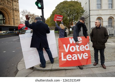 London, UK. - 18th December 2018: Leave campaigners opposite Parliament with 100 days to go until the U.K. leaves the E.U.