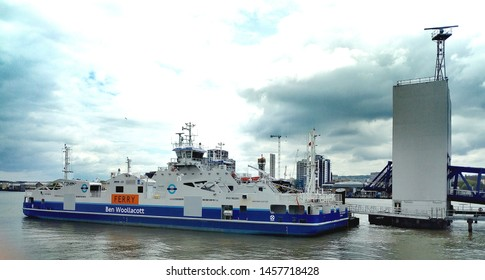 LONDON/ UK- 18th July 2019: The Ben Woolacott, is one of the new transport ferries that crosses the river Thames at Woolwich, in east London.
