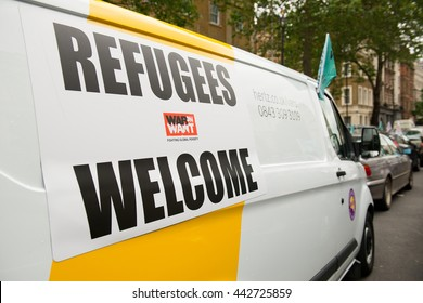 London, UK. 18th June 2016. EDITORIAL - Convoy To Calais rally - Hundreds of people & vehicles assemble at Whitehall, London, to take aid to the refugee camp known as 'the jungle' near Calais, France.