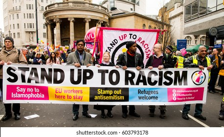 London, UK. 18th March 2017. EDITORIAL - March Against Racism - National Demo for UN Anti-Racism Day - hundreds of people turn out for the anti racism - anti Donald Trump rally through central London.