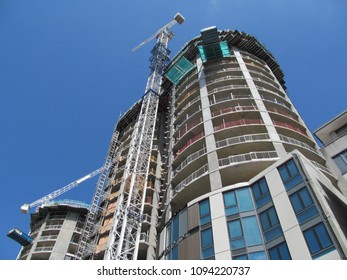 LONDON/ UK- 18th MAY 2018: New apartment towers under construction, in Barking town centre, London.