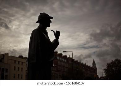 London, UK. 18th October 2012. Sherlok Holmes statue silhouette in London, UK