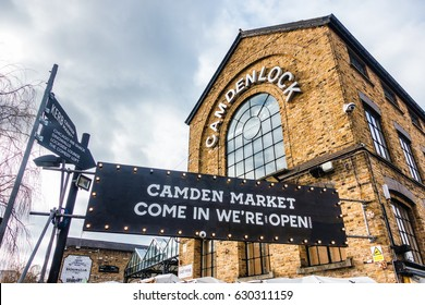 LONDON, UK - 19 FEBRUARY, 2017:  The Camden markets are a number of adjoining large retail markets in Camden Town near the Hampstead Road Lock of the Regent's Canal