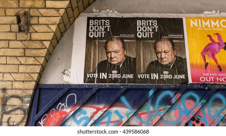 "London, UK - 19 June 2016: Posters in favour of vote to remain in EU with Winston Churchill's face and words ""Brits don't Quit"". The vote on 23rd June 2016 will decide whether UK should remain in EU."