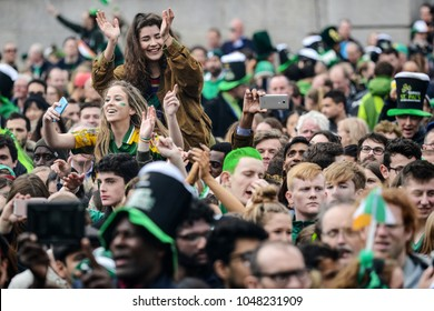 London, UK. 19 March, 2017. St Patrick's Festival in Trafalgar Square.