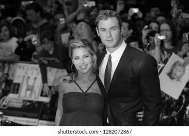 London, UK, 19th Apr 2012: ( Image digitally altered to monochrome ) Elsa Pataky & Chris Hemsworth attend the Avengers Assemble - UK film premiere at the Vue Westfield, Westfield Shopping Centre