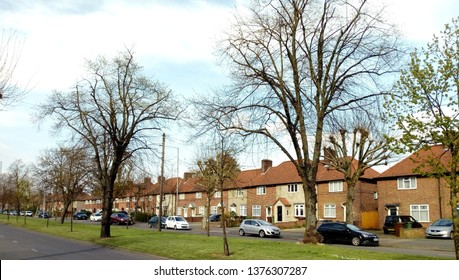 LONDON/ UK- 19th April 2019: Becontree avenue is one of several avenue's that connect the famous Becontree estate in Dagenham, London. Built in the 1930s, its the largest council estate in the world.
