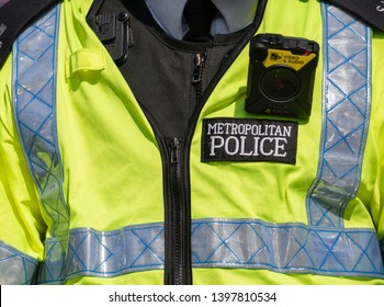 London, UK. 19th April 2019. Close up of a body camera being worn by a Metropolitan Police Officers, to record protesters at the Extinction Rebellion protest demonstration in central London, UK.