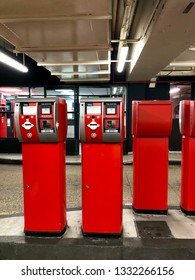 London, UK - 19th February 2019: Automated Car park barrier and payment machine