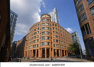 LONDON UK - 19TH JUNE 2017; Corner of Appold Street in the redeveloped Liverpool Street station against blue skies