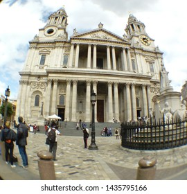 LONDON/ UK- 19th June 2019: St Paul's cathedral, London, taken with fisheye, wide angle lens.