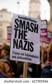 London, UK. 1st April 2017. EDITORIAL - English Defence League / Britain First rally with counter demo by the Unite Against Fascism movement in central London. Police escorted the demos to keep order.