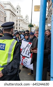 London, UK - 1st April, 2017. Police trying to keep in order protest against Islamists, ISIS.