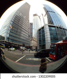 LONDON/ UK- 1st February 2019: Fish eye lens view of modern skyscrapers, taken from street level, in central London's financial district