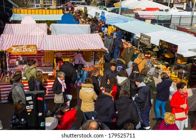 LONDON, UK - 1ST MARCH 2014: A high view of stalls at Camden Food market