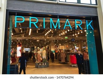 London, UK - 2 May 2019: An outside view of the discount clothes shop sign primark.
