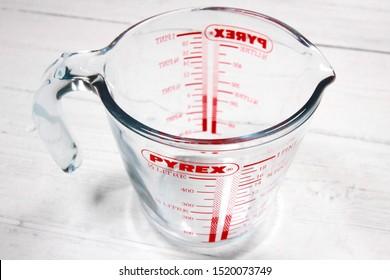 LONDON / UK - 2 OCTOBER 2019: Pyrex half liter measuring jug container