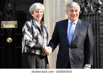 London, UK. 20 April, 2017. The UK Prime Minister welcomes President of the European Parliament, Antonio Tajani to Downing Street.