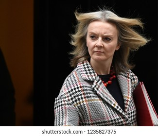 London, UK. 20 November, 2018. Elizabeth Truss MP, Chief Secretary to the Treasury, leaves the weekly Cabinet Meeting, 10 Downing Street.