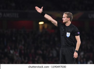LONDON, UK - 20 SEPTEMBER, 2018: Belgian FIFA referee Bart Vertenten pictured during the UEFA Europa League Group E game between ARsenal and Vorskla Potlava.