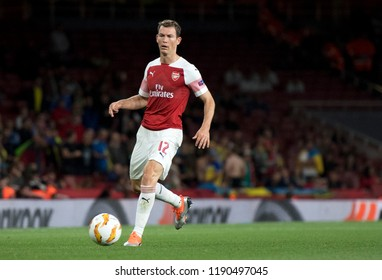 LONDON, UK - 20 SEPTEMBER, 2018: Stephan Lichtsteiner pictured during the UEFA Europa League Group E game between ARsenal and Vorskla Potlava.