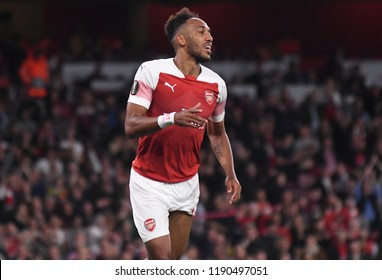 LONDON, UK - 20 SEPTEMBER, 2018: Pierre-Emerick Aubameyang celebrates after a goal scored during the UEFA Europa League Group E game between ARsenal and Vorskla Potlava.