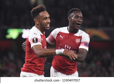LONDON, UK - 20 SEPTEMBER, 2018: Pierre-Emerick Aubameyang and Danny Welbeck celebrate after a goal scored during the UEFA Europa League Group E game between ARsenal and Vorskla Potlava.
