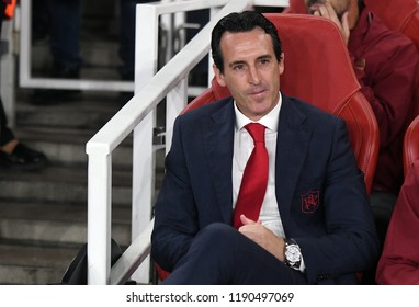 LONDON, UK - 20 SEPTEMBER, 2018: Unai Emery pictured during the UEFA Europa League Group E game between ARsenal and Vorskla Potlava.