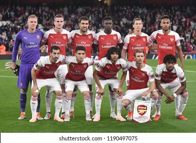 LONDON, UK - 20 SEPTEMBER, 2018: Arsenal starting lineup pictured during the UEFA Europa League Group E game between ARsenal and Vorskla Potlava.