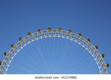 London, UK. 20.04.2016. A close-up view of the London Eye with room for text as a background