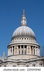 LONDON, UK  - 20TH APRIL 2013: A view of the top of St Pauls Cathedral during the day