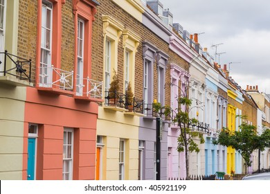 LONDON, UK - 20TH JULY 2015: Colorful buildings along Hartland Road in Camden during the day.