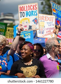 London, UK. 20th July 2019. Dr. Shola Mos-Shogbamimu - Women's Rights supporter at the March for Change demonstration, to push the government to revoke Article 50 and stop the UK's EU exit.