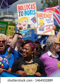 London, UK. 20th July 2019. Dr. Shola Mos-Shogbamimu - Women's Rights activist at the March for Change demonstration, to push the government to revoke Article 50 and stop the UK's EU exit.