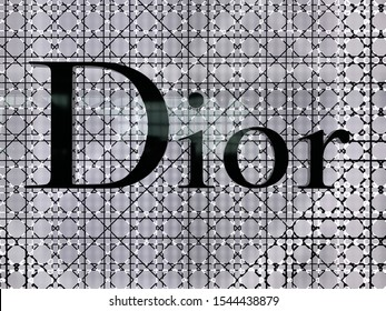 London, UK - 20th May 20-19: Dior sign on the store facade in Heathrow Airport, London. This iconic French design house is internationally renowned for fine clothes, perfume and cosmetics.
