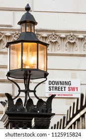 London, UK - 20th November 2013: The iconic sign for Downing Street, Westminster.  Number 10 is the official residence of the Prime Minister. In London, England.