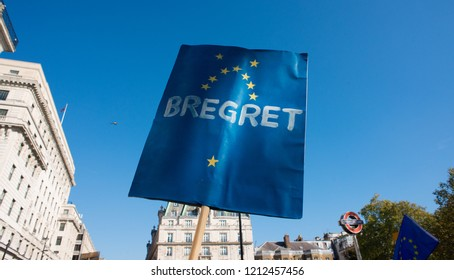 London, UK. 20th Oct 2018. EDITORIAL - One of the many placards/banners at the People's Vote March in London, UK, unhappy Remain Campaign protesters were demanding a vote on the final Brexit deal.