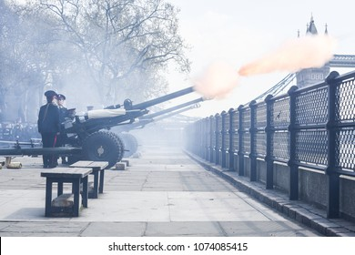 London, UK. 21 April, 2018. Honourable Artillery Company Gun Salute at HM Tower of London.