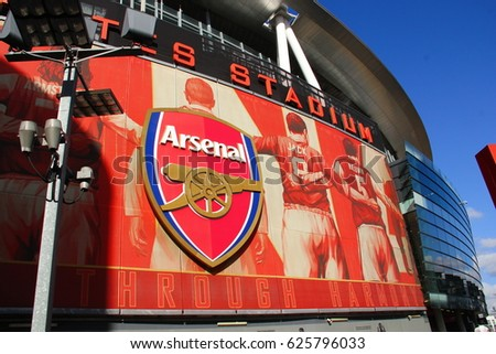 London , UK - 21 Feb 2014 . Outside of Emirates Stadium, the home ground for Arsenal Football ,  England